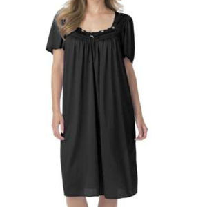 Only Necessities Silky Nylon Nightgown Black 2X
